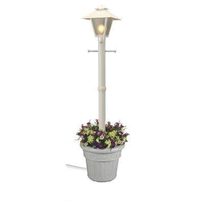 Cape Cod Plug-In Outdoor White Post Lantern with Planter
