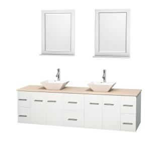 Wyndham Collection Centra 80 inch Double Vanity in White with Marble Vanity Top in Ivory, Porcelain Sinks and 24 inch... by Wyndham Collection