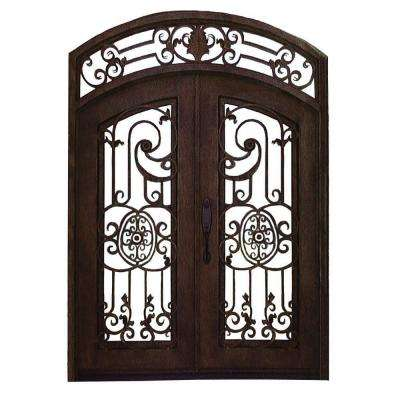 120 in. x 61.5 in. 2-Panel Right-Hand/Inswing 3 Lite Clear Glass Bronze Finished Iron Prehung Front Door