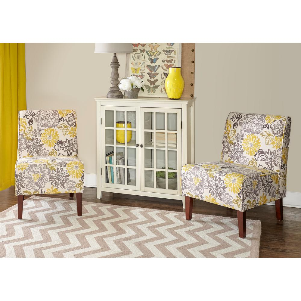 Linon Home Decor Lily Gray And Yellow Polyester Side Chair 36092BRID 01 KD U