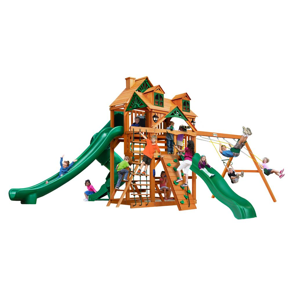 Gorilla Playsets Great Skye II Wooden Swing Set with Malibu Wood Roof and 3 Slides