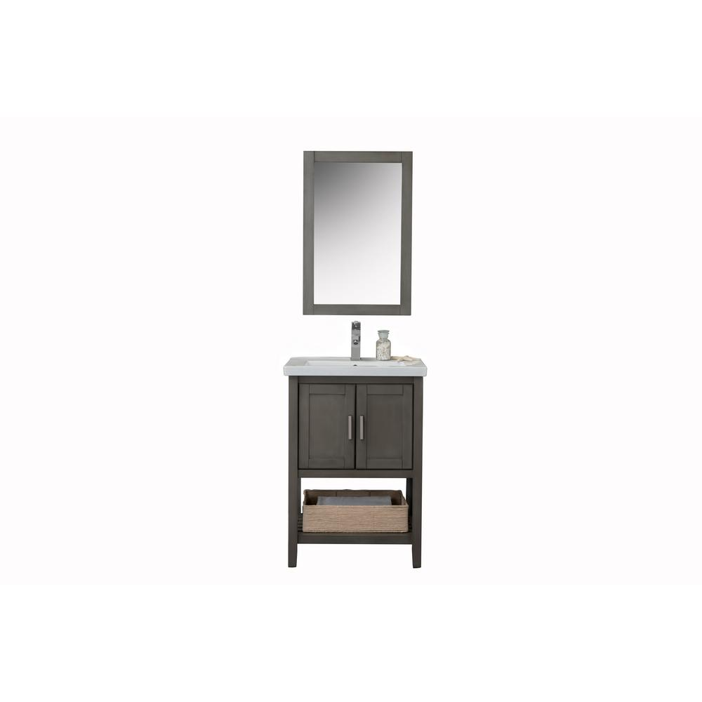 24 in. Vanity in Silver Gray with Porcelain Vanity Top in White with White Basin and Mirror
