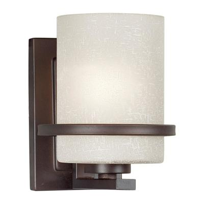 1-Light Antique Bronze Sconce with White Linen Glass