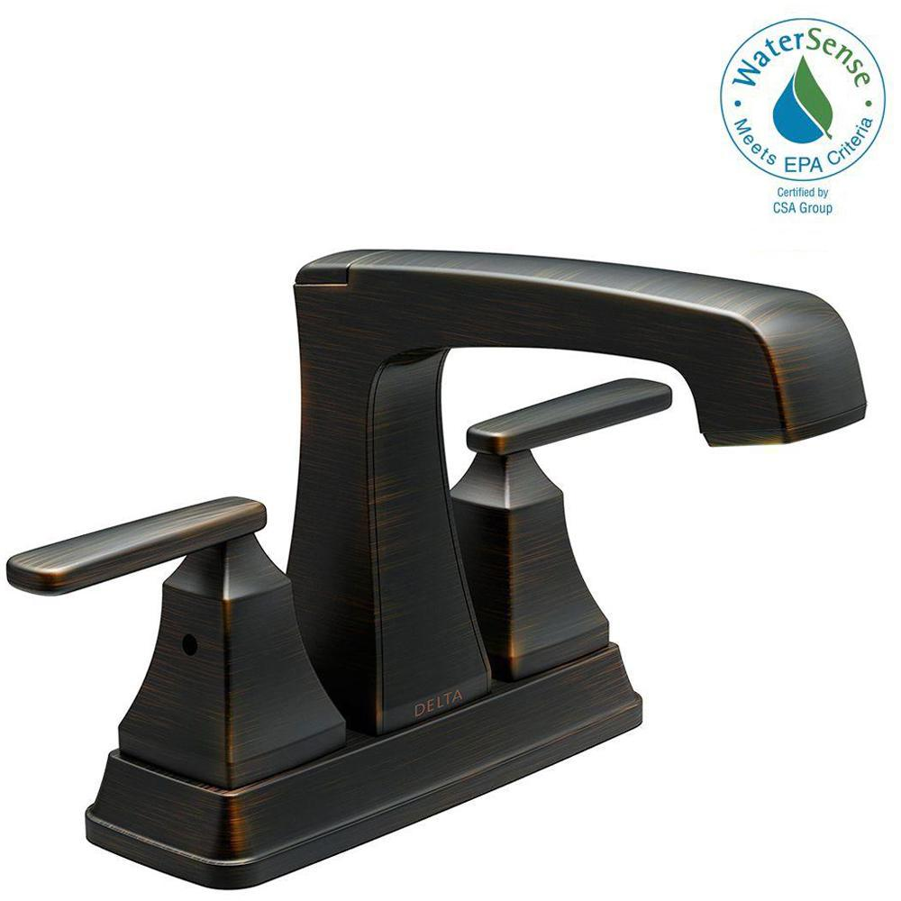 Delta Leland 4 in. Centerset 2-Handle Bathroom Faucet in Venetian ...