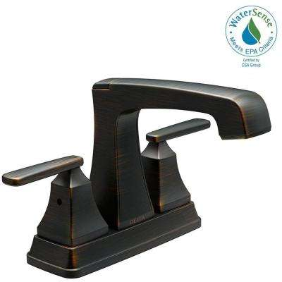 Ashlyn 4 in. Centerset 2-Handle Bathroom Faucet with Metal Drain Assembly in Venetian Bronze