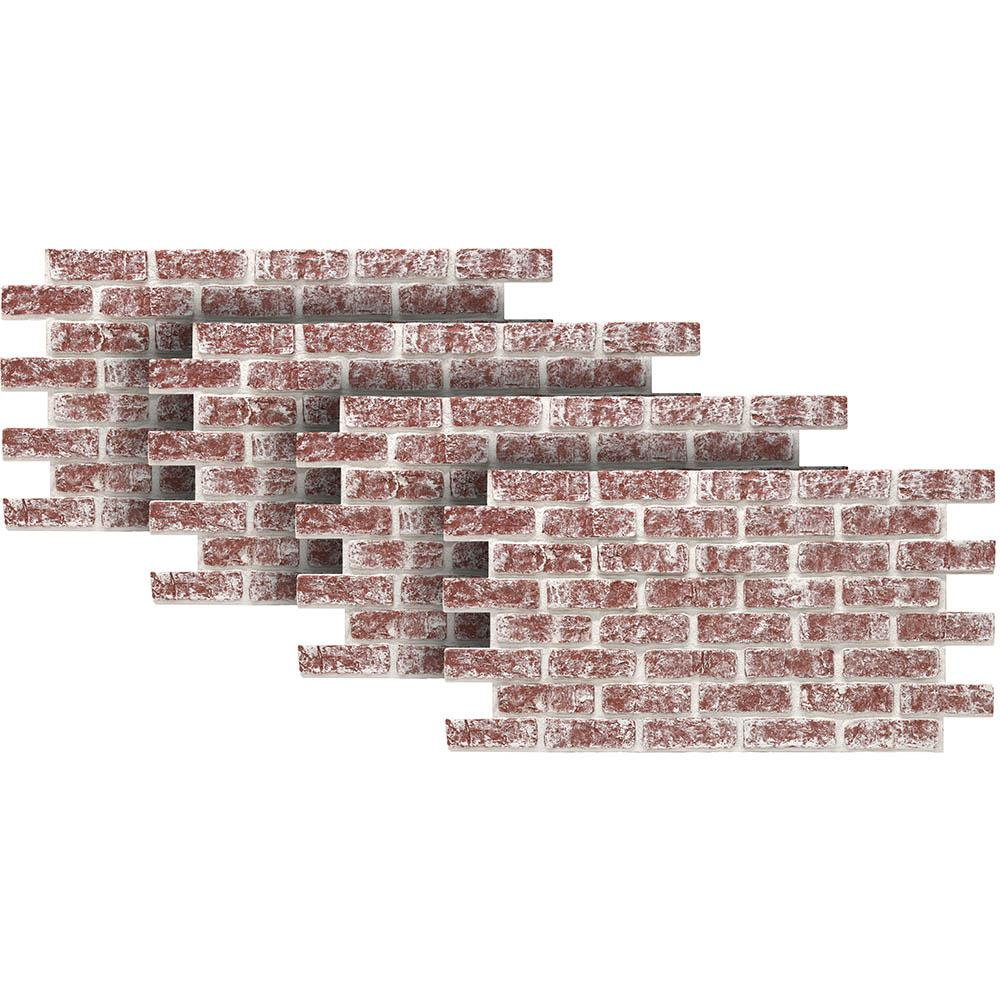 Chalked Red 24 in. x 46-3/8 in. Faux Used Brick Panel (4-Pack)