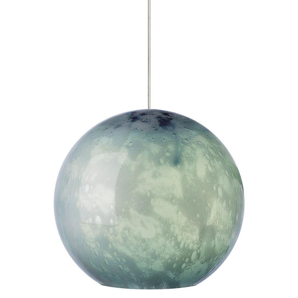 Aquarii 1-Light Satin Nickel Steel Blue LED Hanging Mini Pendant