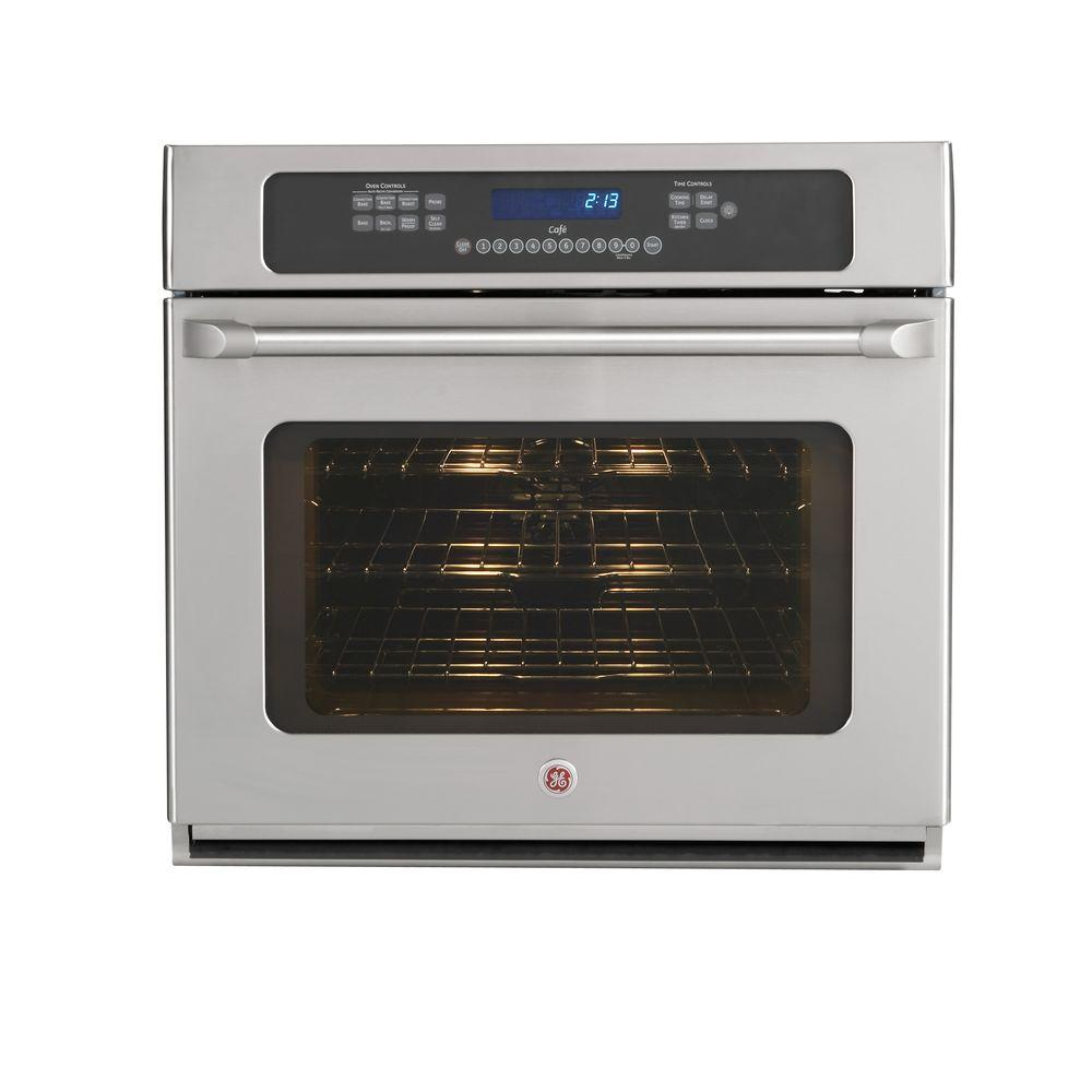 GE Cafe 30 in. Single Electric Wall Oven Self-Cleaning with Convection in Stainless Steel