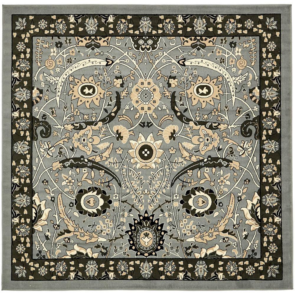 Isfahan Dark Gray 8 ft. x 8 ft. Square Area Rug