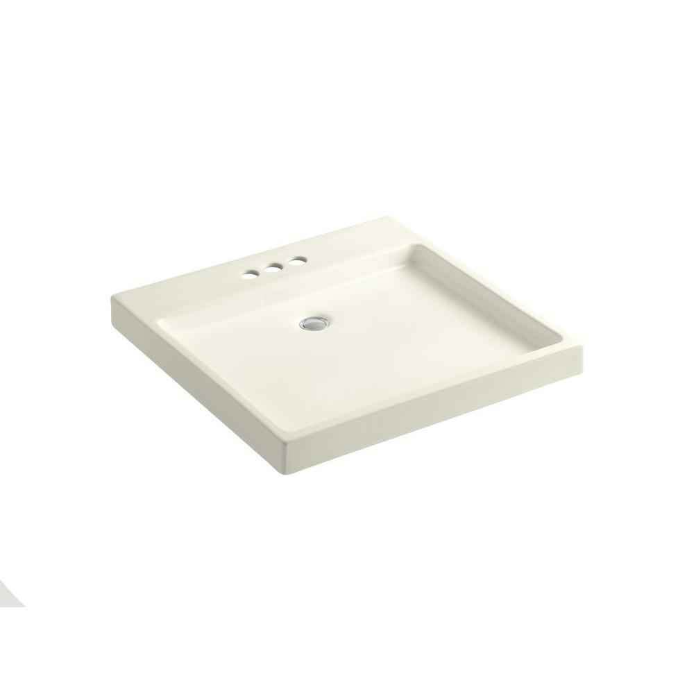 KOHLER Purist Wading Pool Wall-Mount Ceramic Bathroom Sink with in Biscuit