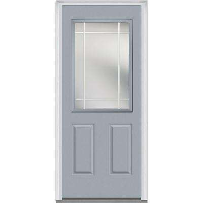 32 in. x 80 in. Prairie Internal Muntins Left-Hand Inswing 1/2-Lite Clear Painted Fiberglass Smooth Prehung Front Door