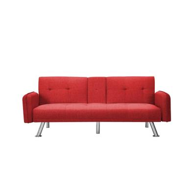 74.8 in. Red Fabric 4-Seater Full Sleeper Sofa Bed with Square Arms
