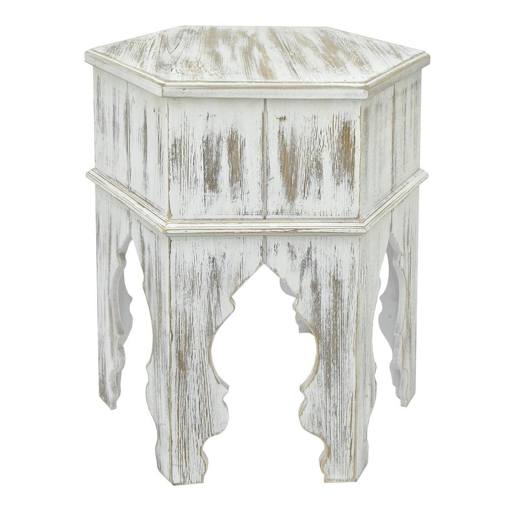 THREE HANDS Wood Moroccan Inspired Accent Table In