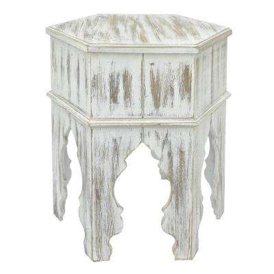 Wood Moroccan inspired Accent Table in  Distressed White Finish