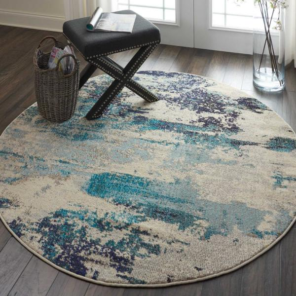 Round Blue And White Beach Area Rug