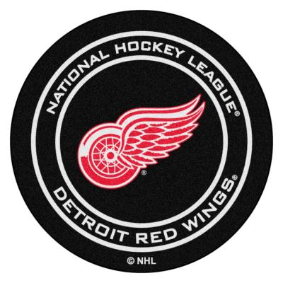 Detroit Red Wings Black 27 in. Round Hockey Puck Mat