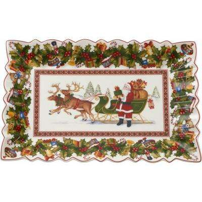 Toy's Fantasy 13.75 in. Rectangular Cake Plate, Packing Santa's Sleigh