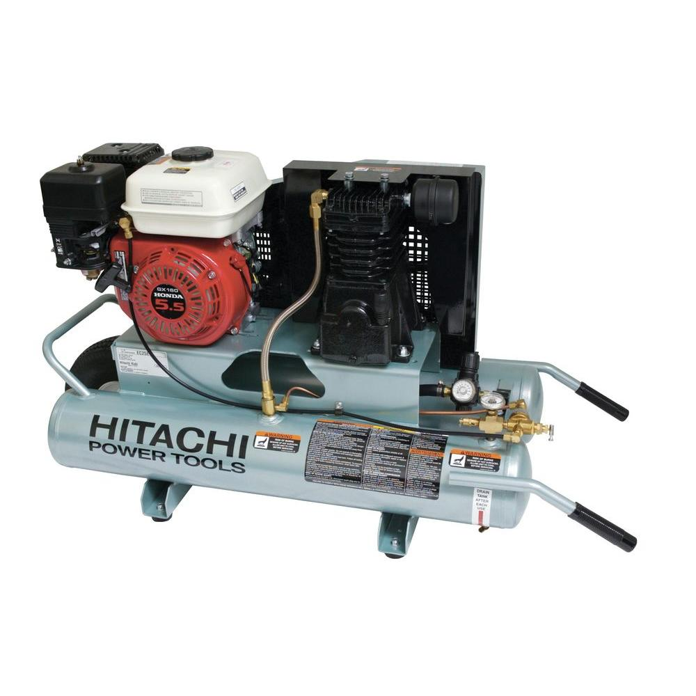 Hitachi 8 Gal. 5.5 HP Wheel Barrow Air Compressor with 8 oz. Synthetic Oil and Wheels