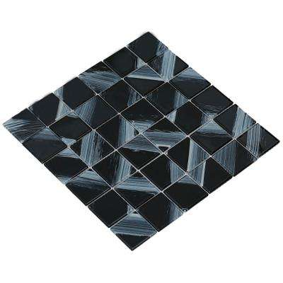 Stella/01, Black and White, 4 in. x 4 in. x 4 mm Glass Mesh-Mounted Mosaic Tile, Tile Sample