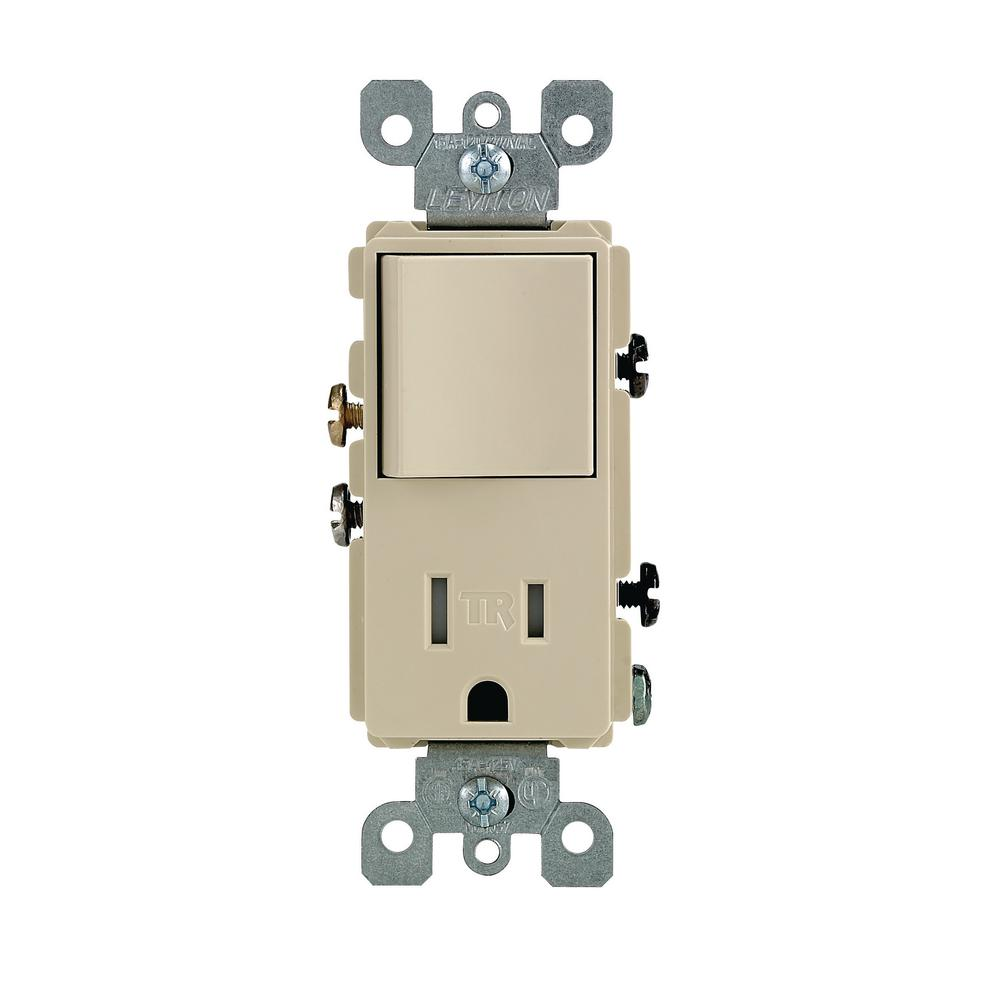 Leviton T5625-I Tamper-Resistant Rocker Combination Decora Switch /& Receptacle