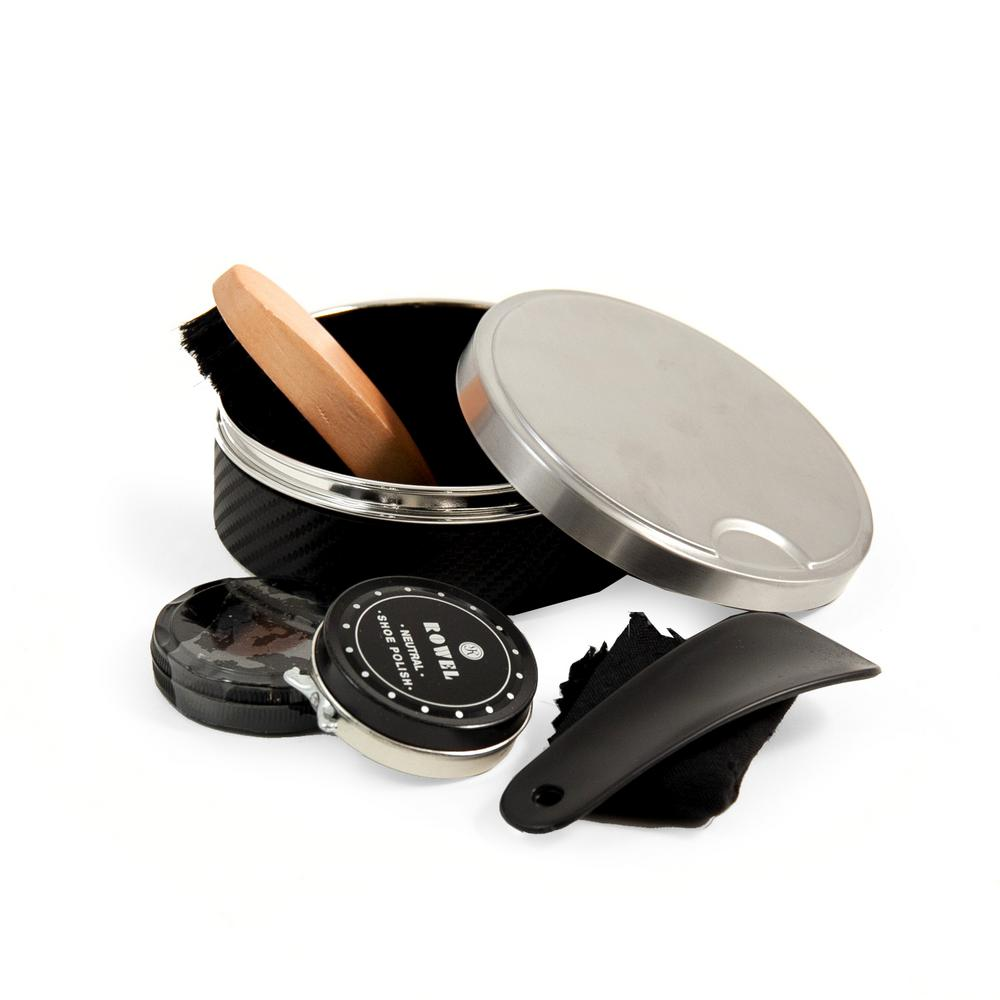Bey Berk Metal Shoe Shine Set in Black, Blacks