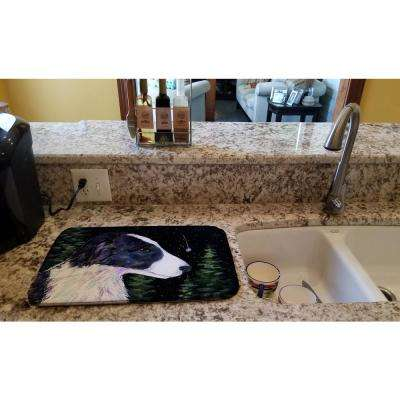 14 in. x 21 in. Multicolor Starry Night Border Collie Dish Drying Mat