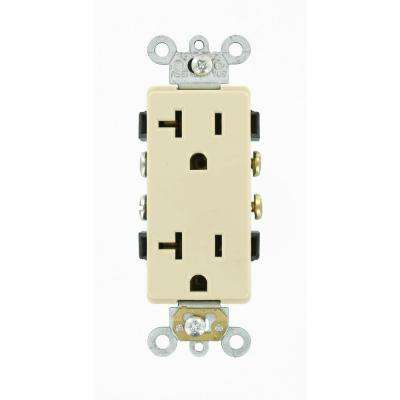 Decora Plus 20 Amp Commercial Grade Self Grounding Duplex Outlet, Ivory