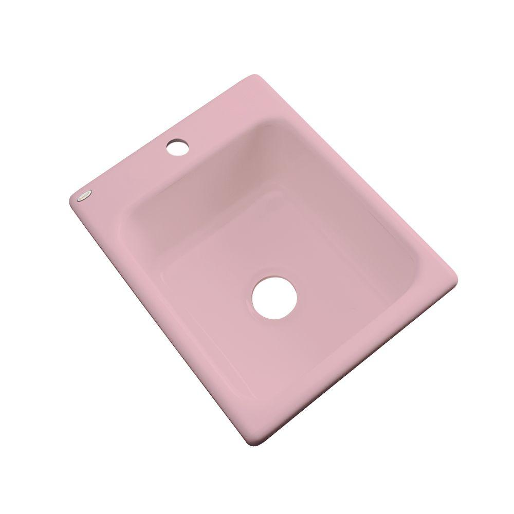 Thermocast Crisfield Drop-In Acrylic 17 in. 1-Hole Single Basin Entertainment Sink in Dusty Rose