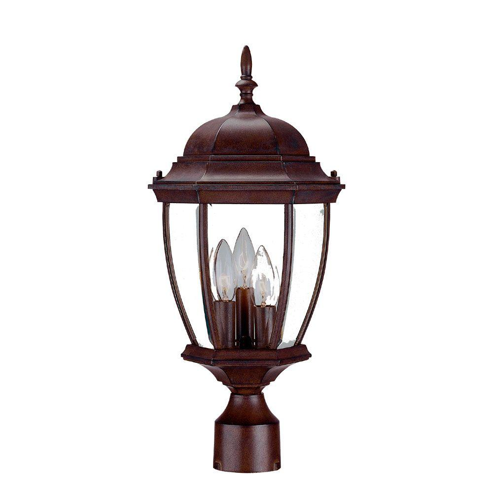 Acclaim Lighting Wexford 3-Light Burled Walnut Outdoor Post-Mount Light Fixture