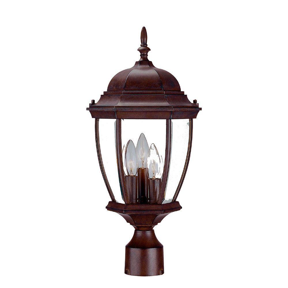 Wexford 3-Light Burled Walnut Outdoor Post-Mount Light Fixture
