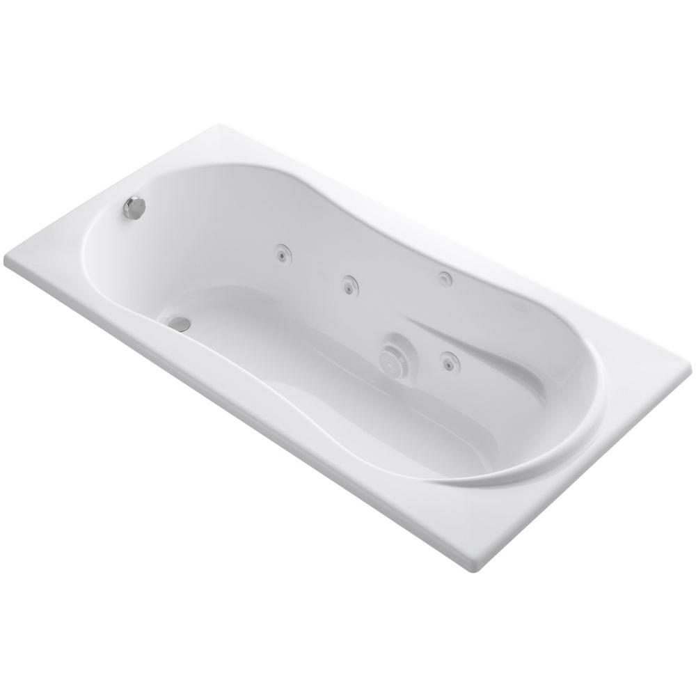 Whirlpool Tub with Reversible Drain in White. KOHLER 7236 6 ft  Whirlpool Tub with Reversible Drain in White K