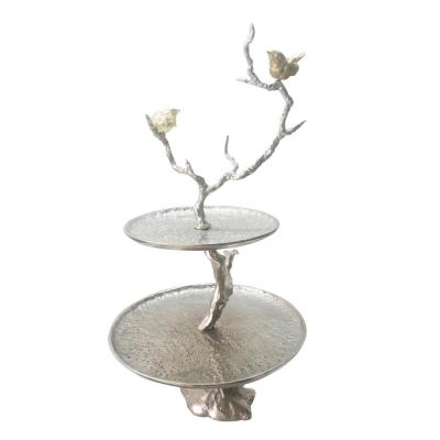 Iron Branch Two-Tiered Silver Tray