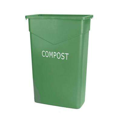 TrimLine 23 Gal. Green Rectangular Trash Can Imprinted with Compost (4-Pack)