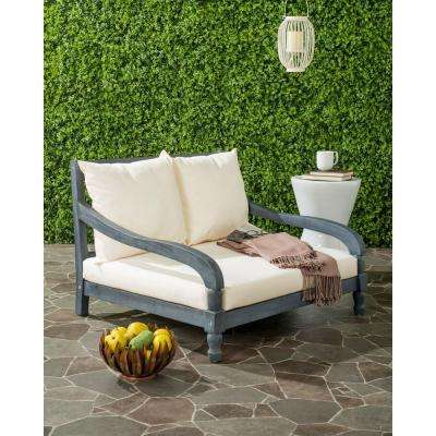 Pomona Ash Grey Outdoor Patio Lounge Chair With Beige Cushion
