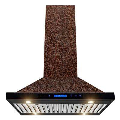 30 in. Convertible Kitchen Island Mount Range Hood in Embossing Copper with Halogen and Touch Panel