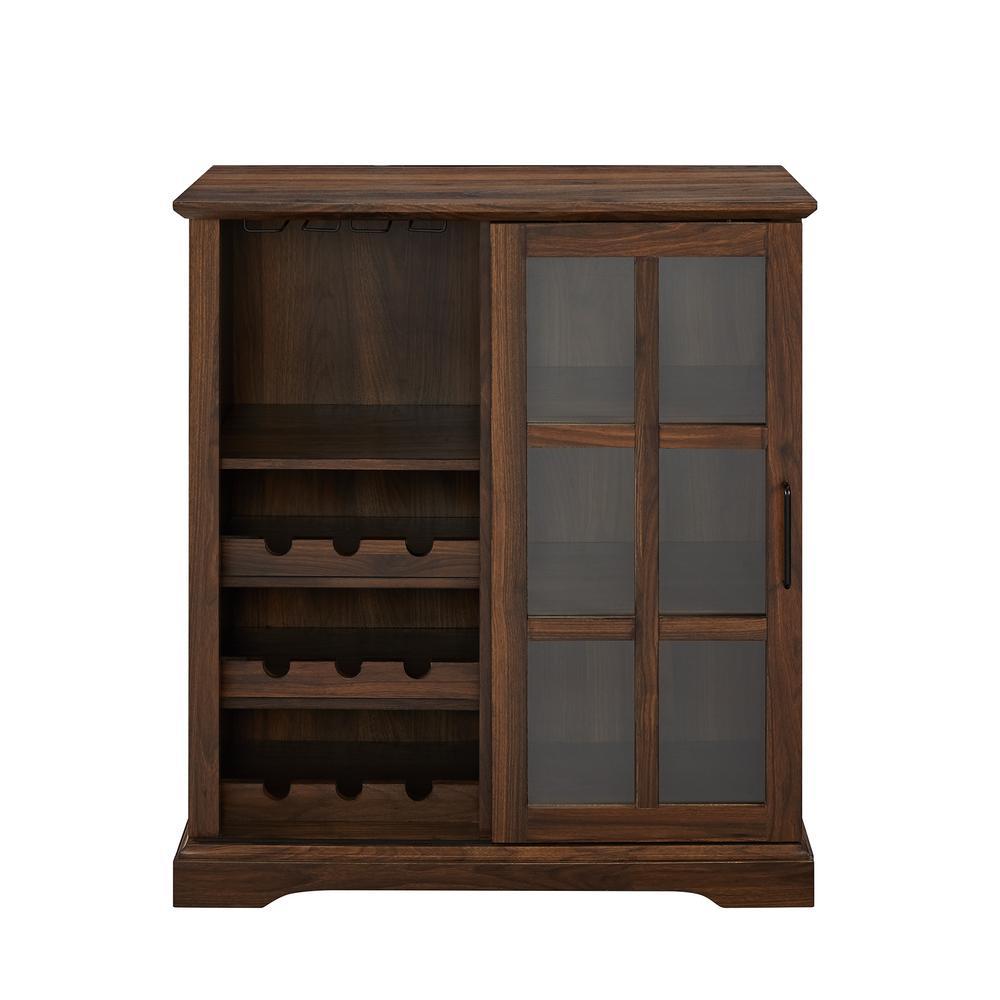 36 in. Dark Walnut Sliding Glass Door Bar Cabinet