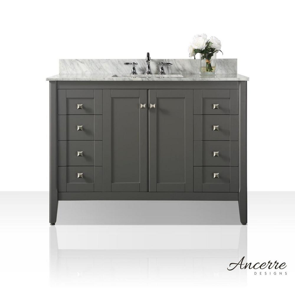 Ancerre Designs Shelton 48 in. W x 22 in. D Vanity in Sapphire Gray with Marble Vanity Top in Carrara White with White Basin