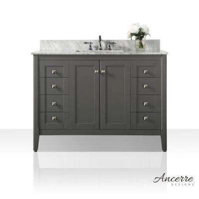 Shelton 48 in. W x 22 in. D Vanity in Sapphire Gray with Marble Vanity Top in Carrera White with White Basin