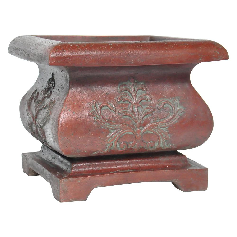 21 in. Square Cast Stone Bombe Planter in Patina Green
