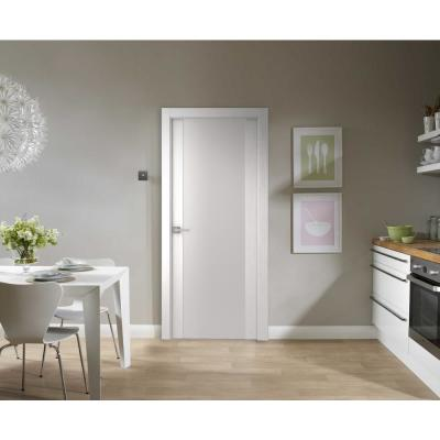 36 in. x 80 in. Smart Pro H3G Polar White Solid Core Wood 1-Lite Frosted Glass Interior Door Slab No Bore