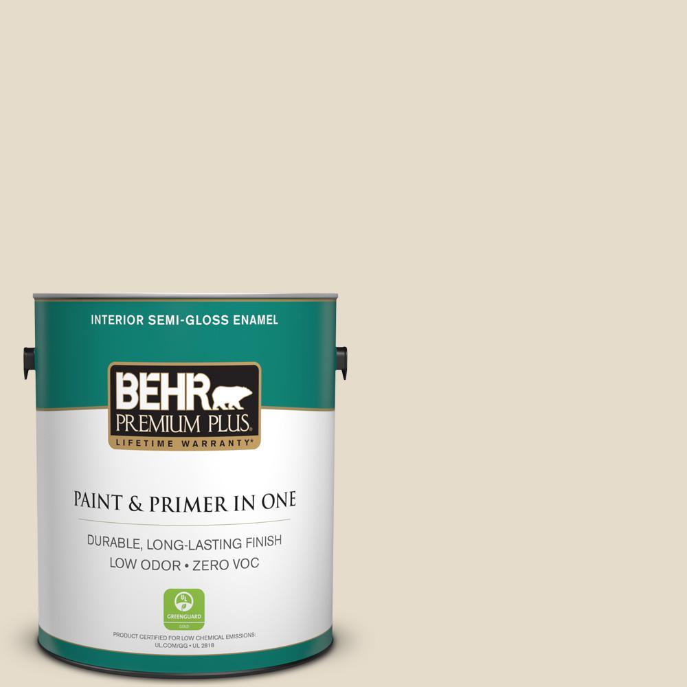 BEHR Premium Plus 1-gal. #PWL-90 Abstract White Zero VOC Semi-Gloss Enamel Interior Paint