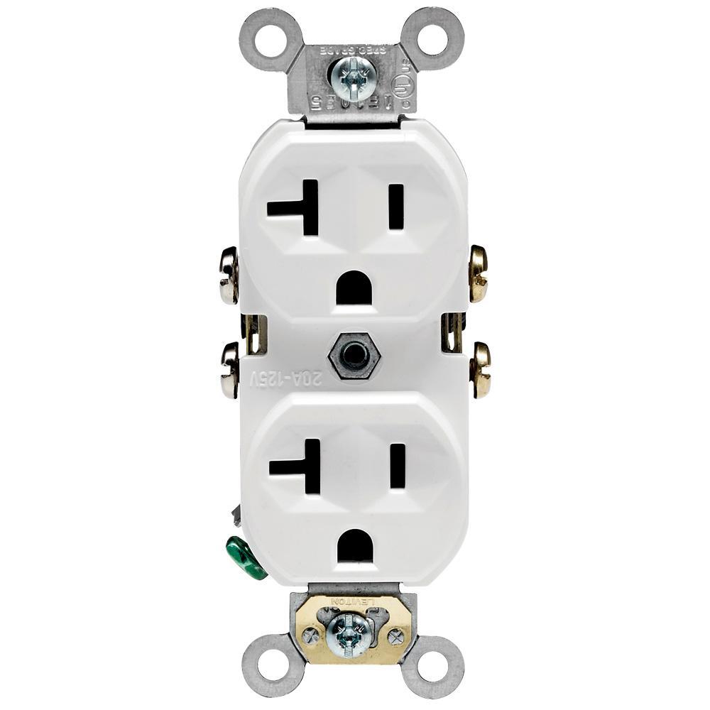 Leviton 20 Amp Commercial Grade Duplex Outlet  White