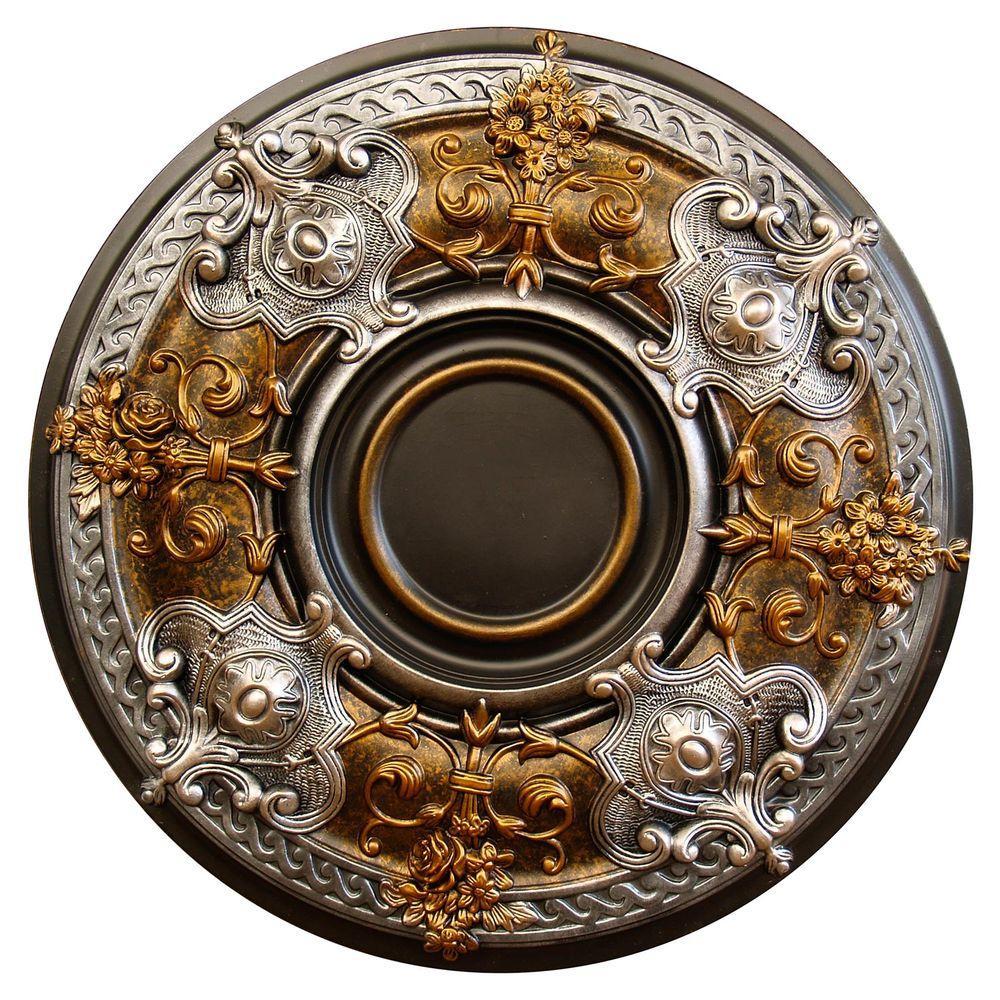 Fine Art Deco Darky Platinum, Bronze & Silver, 28-1/8 in. Polyurethane Hand Painted Ceiling Medallion
