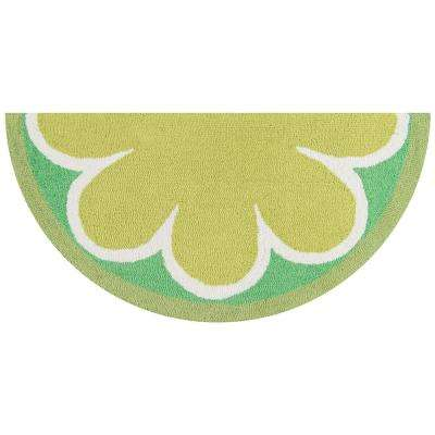 Cucina Lime 1 ft. 6 in. x 3 ft. Half Circle Kitchen Mat