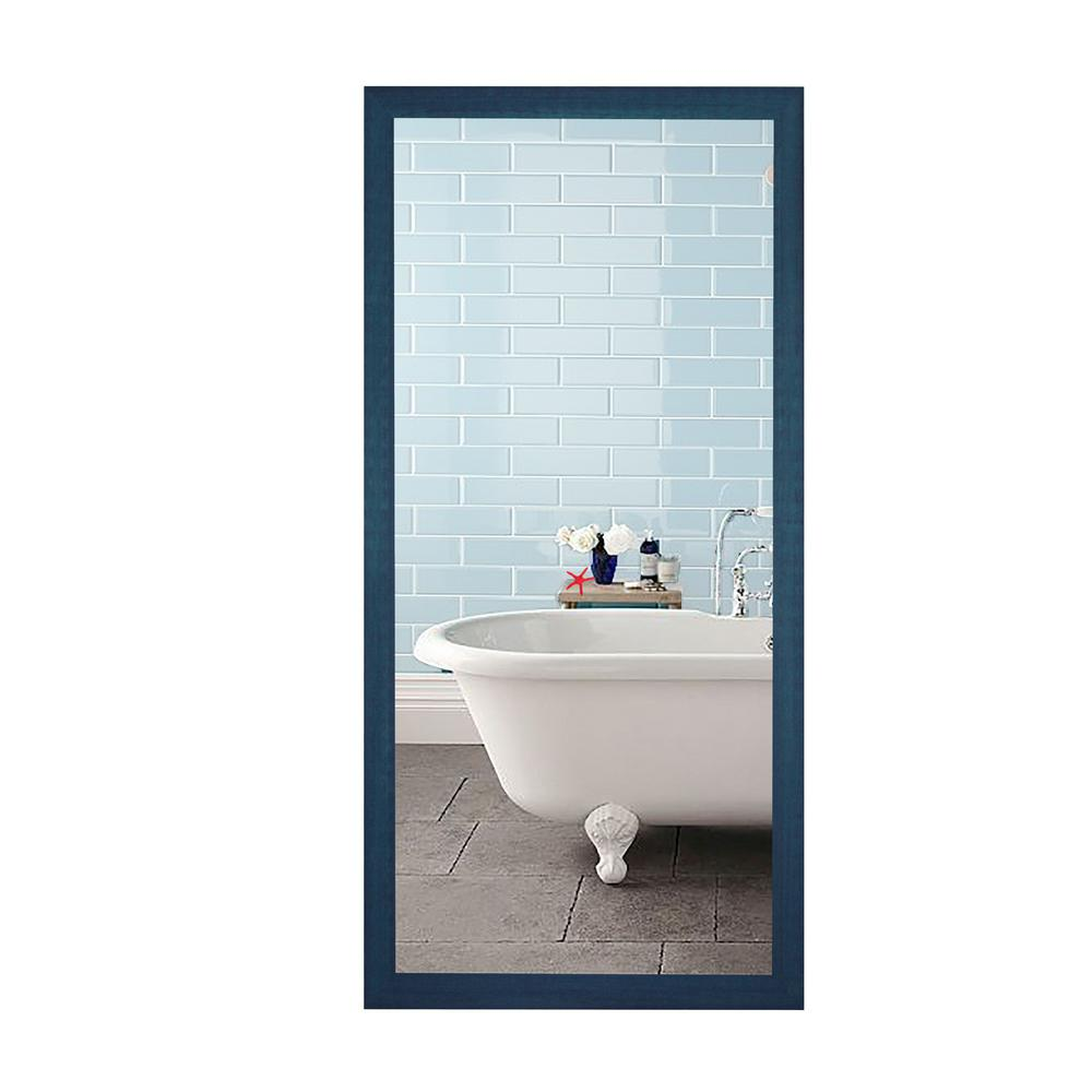 65.5 in. x 30.5 in. Country Cottage Blue Framed Non-Beveled Tall ...