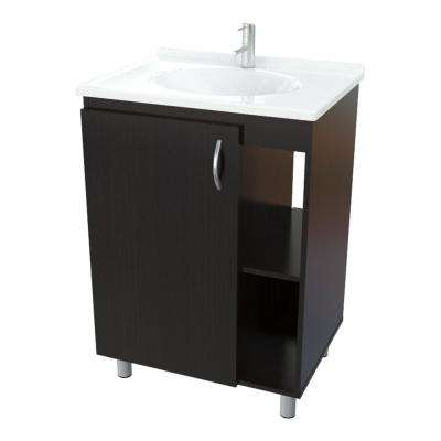 24 in. W x 18 in. D Bathroom Vanity in Espresso Wengue with Vanity Top in White and White Basin