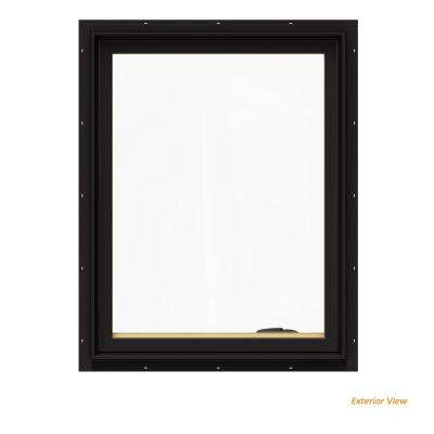 28.75 in. x 36.75 in. W-2500 Series Black Painted Clad Wood Right-Handed Casement Window with BetterVue Mesh Screen