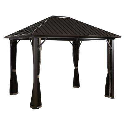 10 ft. D x 14 ft. W Genova Aluminum Gazebo with Galvanized Steel Roof Panels, 2-Track System, and Mosquito Netting