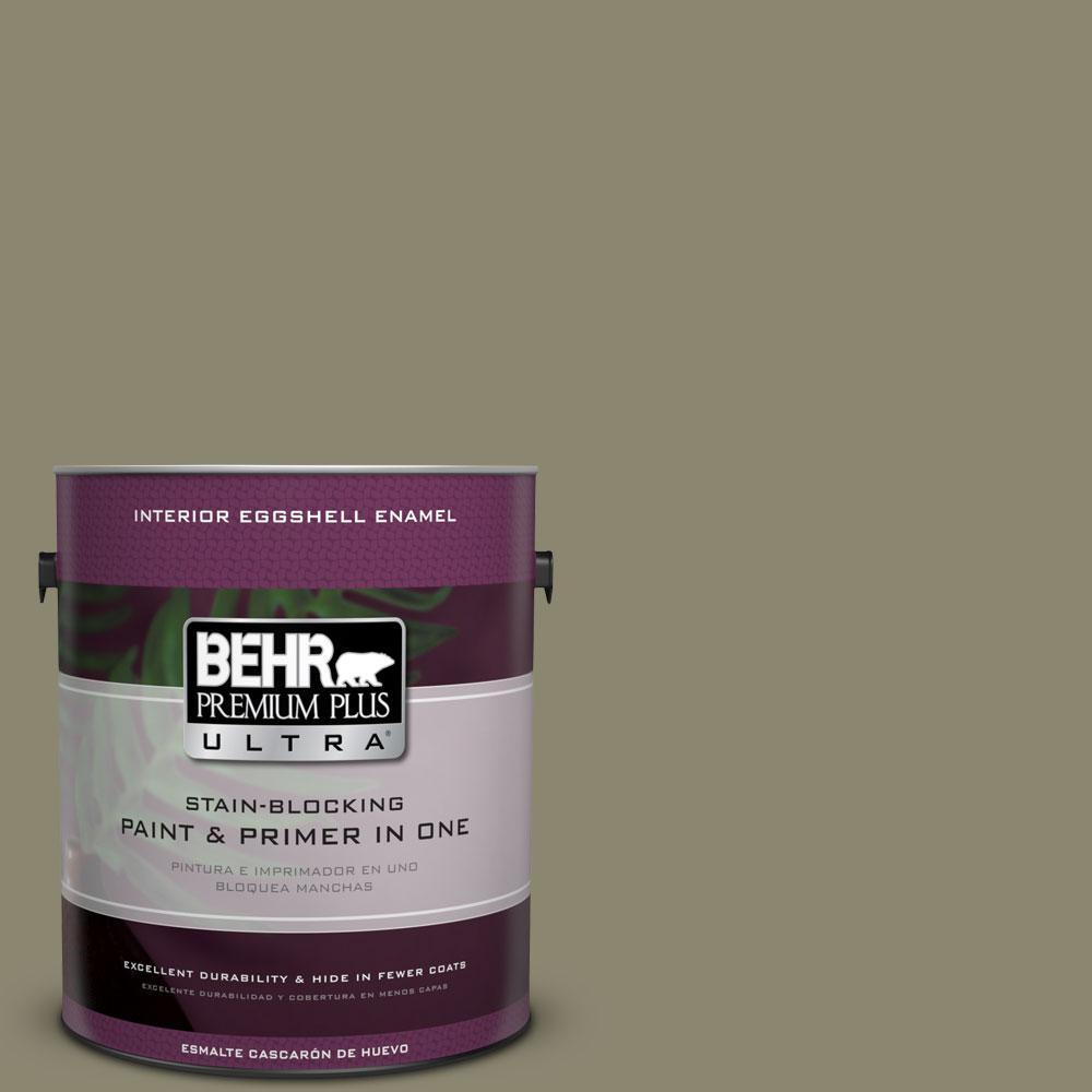 BEHR Premium Plus Ultra 1-Gal. #PPU8-21 Mossy Bank Eggshell Enamel Interior Paint