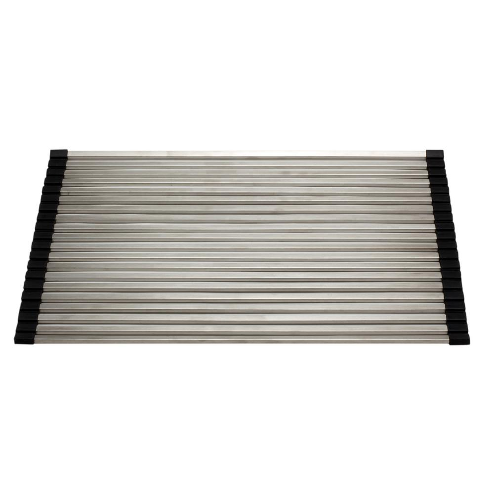 ALFI BRAND 17.3 in. Gray Brushed Stainless Steel Drying Mat for Kitchen  Sinks